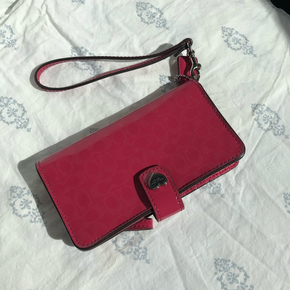 Pink Coach Phone Holder/Wallet Wristlet